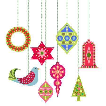 Christmas And New Year Decorations Vector Set.