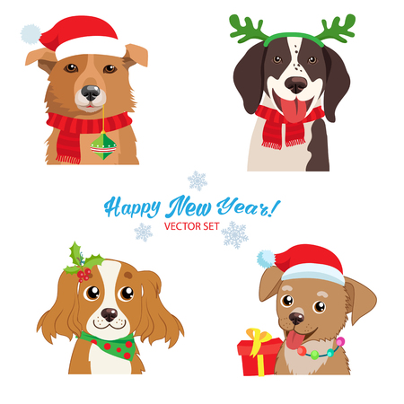 Christmas Dog Faces Collection Vector Set. Symbol Of The Year. Illustration Of Funny Cartoon Dogs In Christmas Costumes. Isolated On White. Holiday Collars And Outfits. Illustration