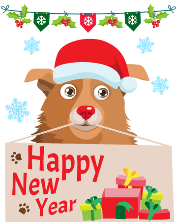 Unconditional Love. Funny Cartoon Dog With Santa Hat, Gift And Space For Your Christmas Text Vector Banner. Your Dog Loves You.