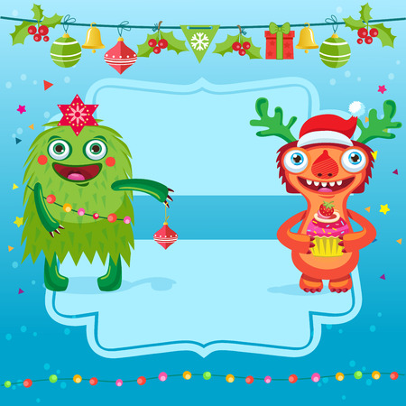 Funny Merry Christmas Vector Card. Greeting Card With Cartoon Christmas Tree And Cheerful Monster With Santa Hat. Merry Christmas And New Year Breaks And Holidays. Illustration