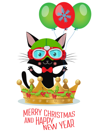Be a Hero This Year. Merry Christmas And Happy New Year Greeting Card Design. Cute Cat With New Year Costume And Pilot Helmet. Vector Illustration. Иллюстрация