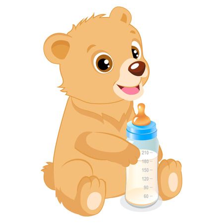 Cute Teddy Bear With Feeding Bottle Cartoon Vector Character. Baby Feed Theme. Healthy Eating For A Healthy.