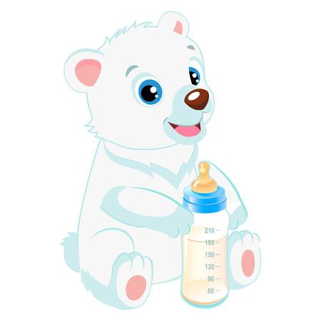 Cute Polar Teddy Bear With Feeding Bottle Cartoon Vector Character. Baby Feed Theme. Healthy Eating For A Healthy. Ilustracja