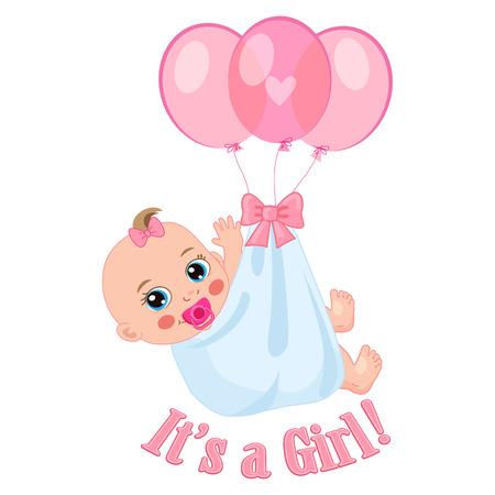Ilustración de Vector de tarjeta de ducha de bebé recién nacido. Es una chica. Diseño de tarjeta de invitación para niños.
