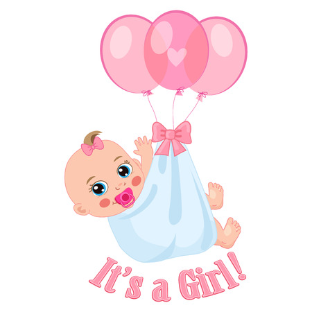Newborn Baby Girl Shower Card Vector Illustration. It's A Girl. Kids Invitation Card Design.