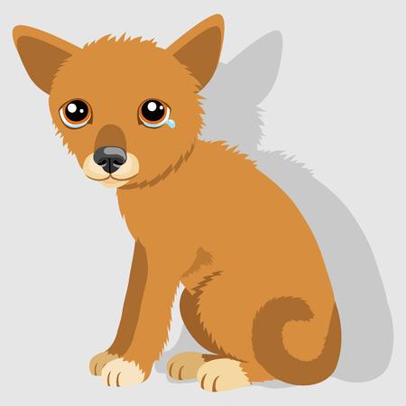 Sad Crying Dog Cartoon Vector Illustration. Dog With Tears. Weep Homeless Pet. Illustration