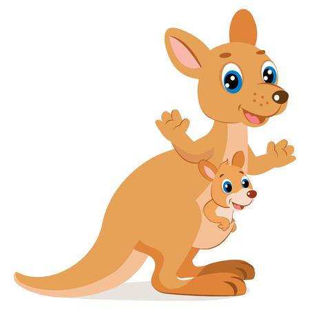 Mother Kangaroo With Her Little Cute Baby Kangaroo icon
