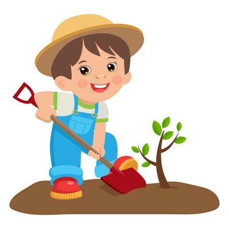 成長若い庭師。シャベルでかわいい漫画の少年。  イラスト・ベクター素材