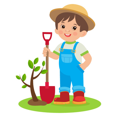 Jardinería de primavera. Jardinero joven en crecimiento. Niño de dibujos animados lindo con pala. Joven agricultor plantando un árbol colorido diseño simple Vector.