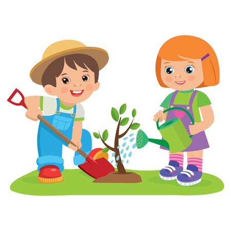Nettes Karikaturmädchen und -junge, die in der Garten-Vektor-Illustration arbeiten. Kinder pflanzen einen Baum. Mädchen mit Gießkanne, Junge mit einem Schaufelvektor. Frühlingsgartenarbeit.