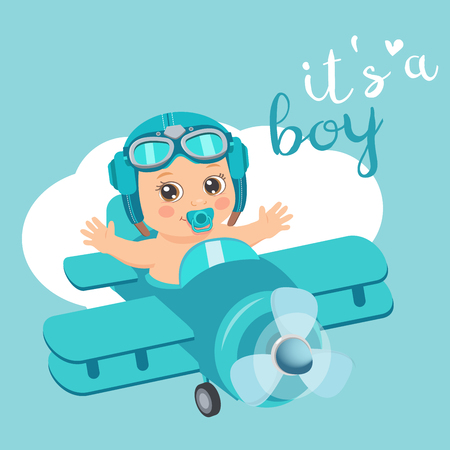 It's A Boy Beautiful Vector Card. Cute Airplane With Arrival Boy Aviator. Cartoon Illustration With Ahoy It's A Boy. Baby Shower Invitation Card.