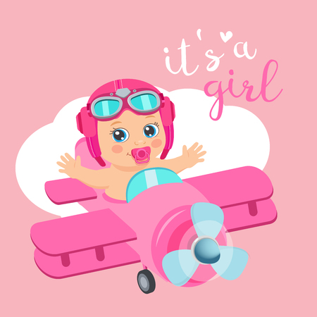 It's A Girl Beautiful Vector Card. Cute Airplane With Arrival Girl Aviator. Cartoon Illustration With Ahoy It's A Girl. Baby Shower Invitation Card. 일러스트