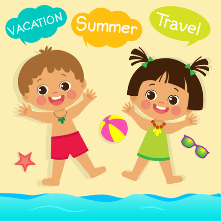 Cute Little Boy And Girl Playing With Sand On Summer Beach. Top View Of Summer Beach Vector. Kids On The Beach Summer Holiday Vector Illustration. It Was Really Funny. Standard-Bild - 103297780