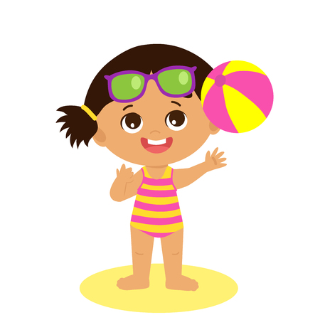 Happy Holidays. Isolated Happy Summer Girl Vector Flat Style.