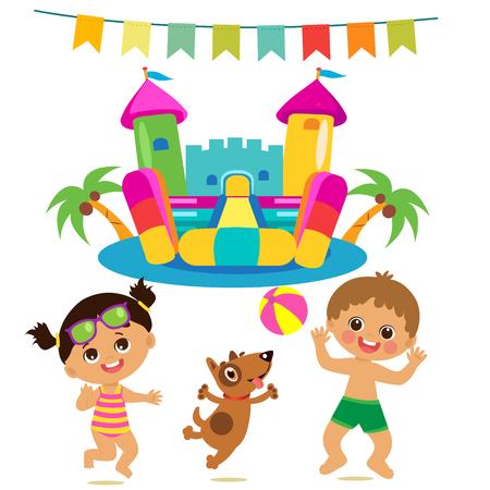 Niños saltando y perro y castillo hinchable conjunto de vectores. Ilustraciones de dibujos animados sobre un fondo blanco. Castillo hinchable y divertido chico y chica en la playa. Conjunto de vectores de vacaciones de verano.