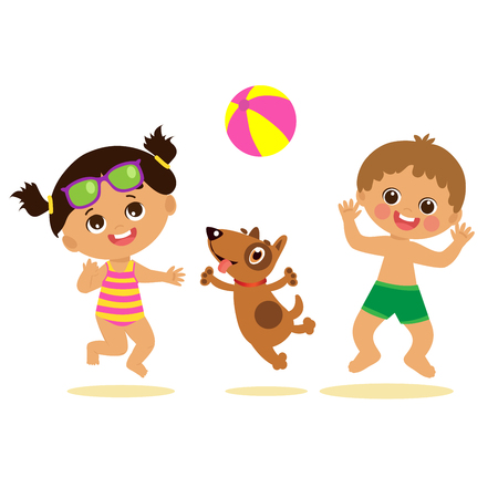 Lets Jump. Happy Holidays. Cute Summer Girl And Boy Cartoon Vector. Summer Time Vector Illustration. Boy And Girl Playing Ball With A Dog. Kids On The Beach Vector.
