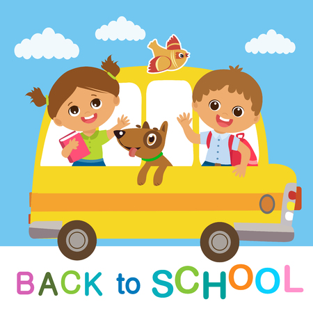 Vector Illustration Of Happy School Kids Go To School. Welcome Back To School. Cute School Boy And Girl Riding On School Bus.