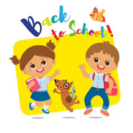 Vector Illustration Of Happy School Kids Go To School. Welcome Back To School. Cute School Boy And Girl With Book And Schoolbag.  イラスト・ベクター素材