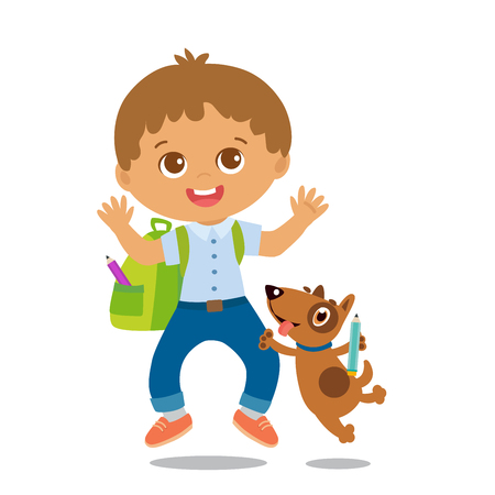 Vector Illustration Of Happy School Boy Go To School. Welcome Back To School. Cute School Boy With Schoolbag Isolated On A White Background.  イラスト・ベクター素材