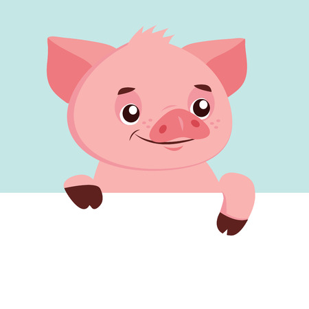 Funny Cartoon Pig Vector Character. Happy Pig With Signboard Mascot. Character. Pig Holding Banner. Cute Animal. Vector Illustration Isolated On White Background.  イラスト・ベクター素材