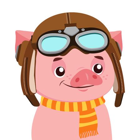 Lustige Karikatur Schwein Vektor Charakter. Porträt des Schweins mit Helm. Süßes Tier. Vektor-Illustration lokalisiert auf weißem Hintergrund. Flieger-Thema.