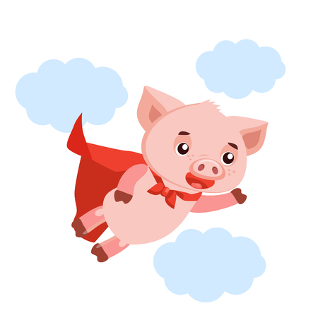 Funny Cartoon Pig Vector. Superhero Pig Cartoon Mascot Character Vector Illustration. Symbol Of The Chinese New Year. Illustration of a SuperHero Pig.