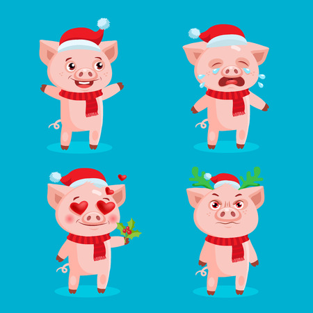Santa Pig Emoji Set Collection. Vector Set Of Christmas Pigs With Santa Hats. Symbol Of The Chinese New Year. Illustration of a SuperHero Pig. Cute Emotions, Happy, Angry, Crying, Love.