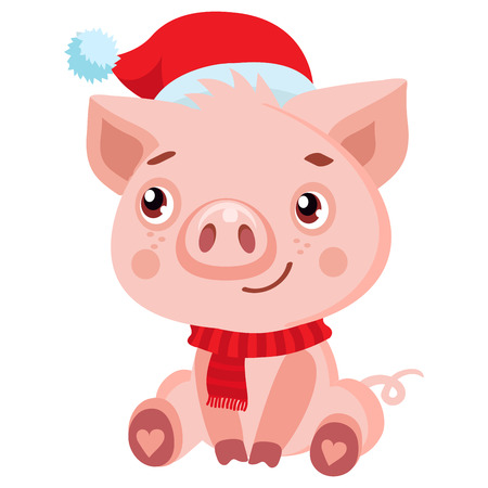 Cute Cartoon Happy Baby Pig In Santa Hat Isolated On White Background. Christmas And New Year Vector Icon. Cute Funny Cartoon Character.  イラスト・ベクター素材