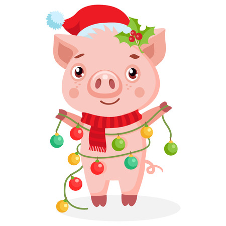 Cute Cartoon Happy Pig In Santa Hat On White Background. Cute Funny Cartoon Character. Little Pig Holding New Year Garland Vector Illustration. Chinese New Year, Holiday Symbol.  イラスト・ベクター素材