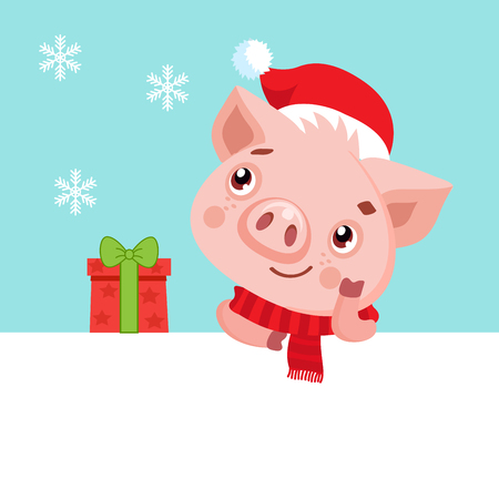 Cute Cartoon Happy Baby Pig In Santa Hat. Christmas And New Year Vector Icon. Cute Funny Cartoon Character. Happy Pig With Signboard.