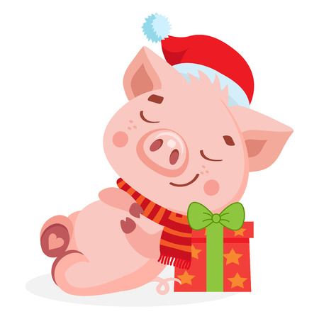 Cute Cartoon Happy Baby Pig In Santa Hat Isolated On White Background. Christmas And New Year Vector Icon. Cute Funny Cartoon Character. Santa Pig Sleeping On The Gift Box.