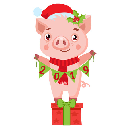 Cute Cartoon Happy Pig In Santa Hat On White Background. Cute Funny New Year Cartoon Character. Little Pig Holding Garland With Text. Chinese New Year, Holiday Symbol Vector Illustration.