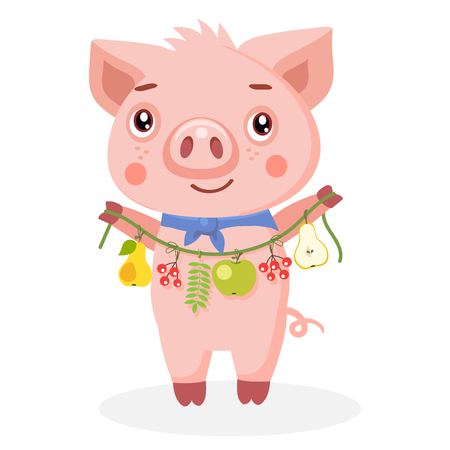 Happy Pig On White Background. Funny Cartoon Character Animals. Little Pig Holding Garland With Fruit And Leaves. Harvest Theme Vector Illustration.