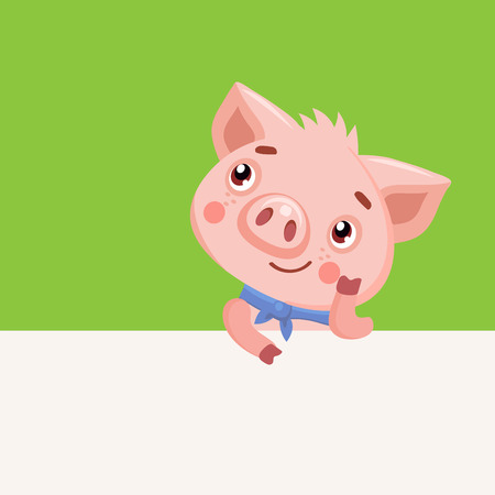 Cute Baby Pig Vector Illustration. Cartoon Animals Characters. Funny Cartoon Pig Vector Character. Happy Pig With Signboard. Pig Holding Banner.  イラスト・ベクター素材