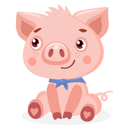 Cute Pig Vector Illustration. Cute Baby Pig Vector Illustration Isolated On White Background. Cartoon Animal Character.  イラスト・ベクター素材