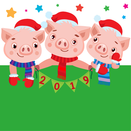 2019 Happy New Year Banner. Cute Pig In Winter Scarf With Numbers. Greeting Illustration. Symbol Of Winter Holidays Celebration Card.  イラスト・ベクター素材