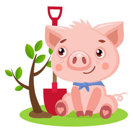 Funny Little Pig Vector. Cute Pig Gardener Funny Cartoon Animal Vector Illustration. Piggy Gardeners Supply.