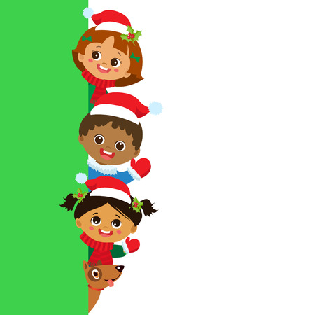 Children And Greeting Christmas And New Year Banner, Multicultural Kids In Christmas Costume Characters Celebrate, Cute Little Christmas Childrens Collection, Happy New Year, Vector.