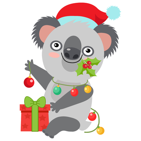 Funny Koala Christmas Vector. Merry Christmas From Australia Koala Christmas Card. Cute Animal Cartoon Character Holiday Vector Illustration On A White Background. Koala In A Santa Hat With Gift.