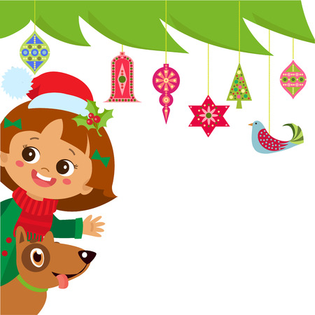 Cute Girl And Dog Near The Christmas Tree. Vector Christmas Cartoon Banner Design. Background With Decorations Christmas Tree.  イラスト・ベクター素材