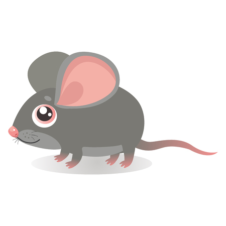 Fancy Little Mouse Vector Illustrations. Cute Running Mouse In Cartoon Style. Grey Mice On A White Background. Lonely Gentle Mouse.  イラスト・ベクター素材