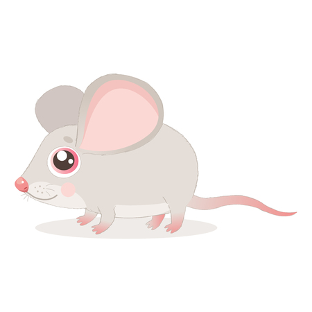 Sweet Little Mouse Vector Illustrations. Cute Mouse In Baby Cartoon Style. Mice On A White Background. Lonely Gentle Mouse.  イラスト・ベクター素材