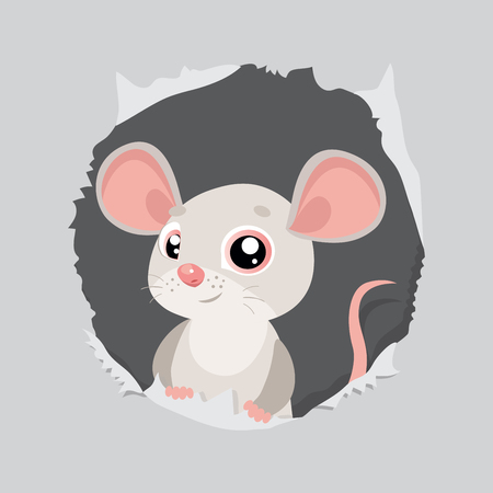 Funny Mouse Looking Out Of Hole In Paper Vector Illustration. Funny Animal Cartoon Character. Cute Cartoon Rat  Vector.