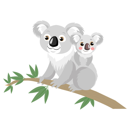 Mother And Baby Koala Bear On Wood Branch With Green Leaves. Australian Animal Funniest Koala Sitting On Eucalyptus Branch. Cartoon Vector Illustration.  イラスト・ベクター素材