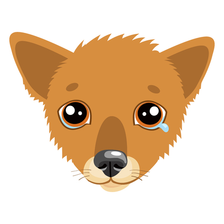 Sad Dog Face Emoticon Vector Icon. Vector Head Cute Sad Face Pet Animal. Crying Dog Emoji. When Youre Depressed. What Is Your Dog Saying When Making A Sad Face.