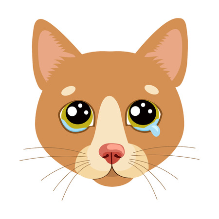 Sad Cat Face Head Vector Icon. Illustration Of Cute Sad Animal. Drear Crying Cat Vector. Crying Cat Emoji. When You Depressed. What Is Your Cat Saying When Making A Sad Face.  イラスト・ベクター素材
