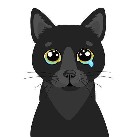 Sad Black Cat Vector Icon. Illustration Of Cute Sad Animal. Drear Crying Black Cat Vector. Crying Cat Emoji. When You Depressed. Flat Design Style, White Background, Isolated. 写真素材 - 116692373