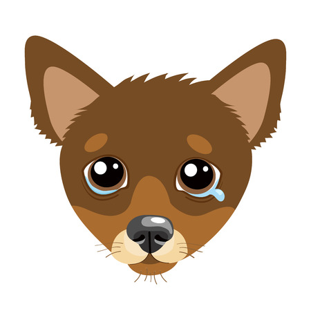 Sad Dog Face Emoticon Vector Icon. Vector Head Cute Sad Face Pet Animal. Crying Dog Emoji. When You Depressed. Flat design style. White background and Isolated.  イラスト・ベクター素材