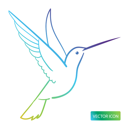 Kolibrie Pictogram Ontwerp Afbeelding Op Een Witte Achtergrond. Vectorillustratie. Vector Illustratie