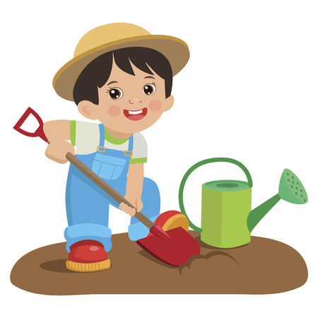 Cute Cartoon Boy With Shovel. Young Farmer Working In The Garden Colorful Simple Design Vector. Spring Gardening.